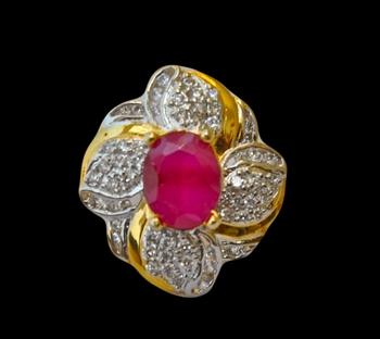 Diamond Ruby Cocktail Ring
