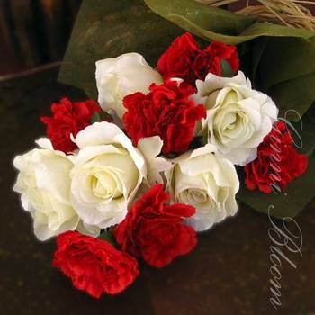 Bunch of Artificial Roses and Carnations (Red and White)