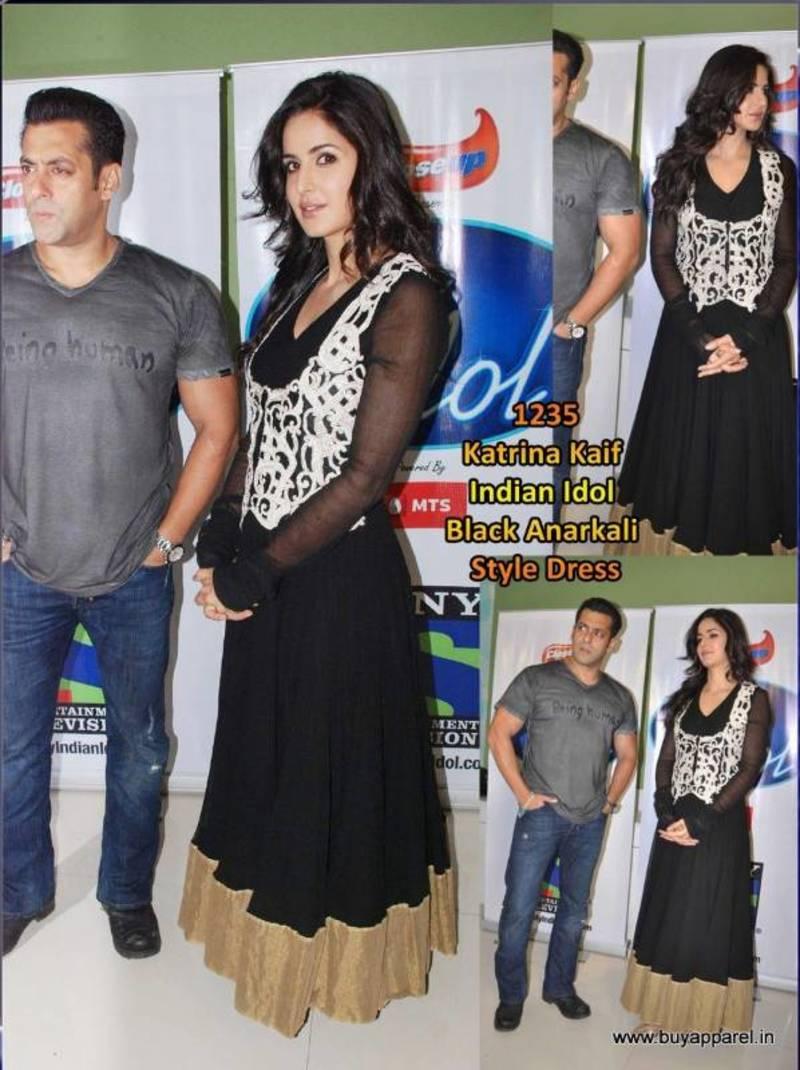 e1052012b10 Bollywood replica katrina kaif black georgette dress material with jacket -  Bikaw - 182098