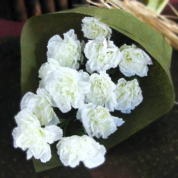 Bunch of White Artificial Carnations