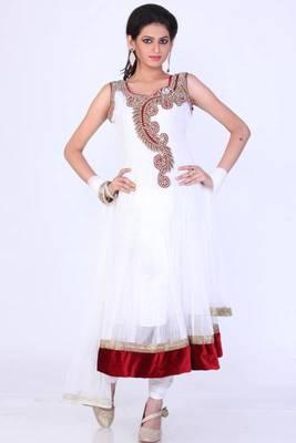 Off-white Net Embroidered Party and Festival Anarkali Salwar Kameez
