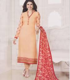Buy Peach georgette embroidered semi stitched salwar with dupatta pakistani-salwar-kameez online