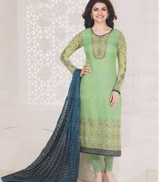 Buy Green georgette embroidered semi stitched salwar with dupatta pakistani-salwar-kameez online