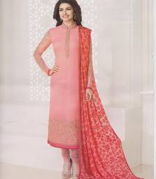 Buy Light Pink georgette embroidered semi stitched salwar with dupatta pakistani-salwar-kameez online