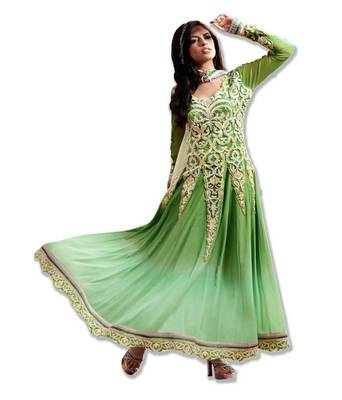AARYA SUPER FINE GEORGETTE SHADED NEON GREEN COLOR DESIGNER SEMI STITCHED SALWAR SUIT 7273