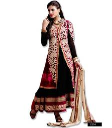 Buy AARYA PURE VELVETT MAROON AND BLACK COLOR DESIGNER SEMI STITCHED SALWAR SUIT 7274 semi-stitched-salwar-suit online