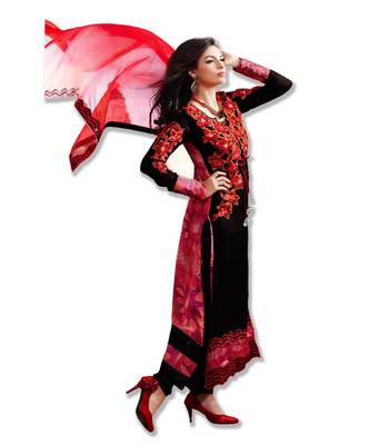 AARYA SATIN CHIFFON BLACK AND RED COLOR DESIGNER SEMI STITCHED SALWAR SUIT 7277