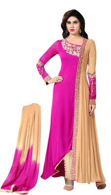 Pink and Beige georgette embroidered semi stitched salwar with dupatta