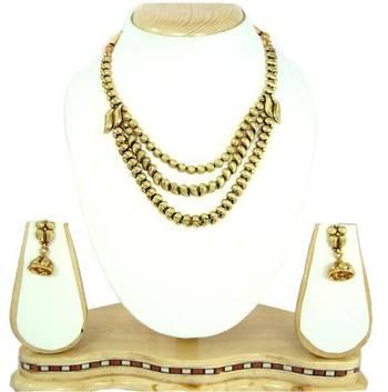 3 line gold plated bridal necklace set rn13