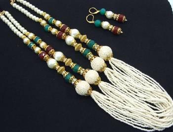 Jodha style faux pearl long necklace earring set pn41