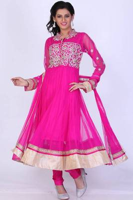 Persian-rose Pink Net Embroidered Party and Festival Anarkali Salwar Kameez