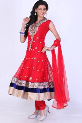 Rose-madder Red Net Embroidered Party and Festival Anarkali Salwar Kameez
