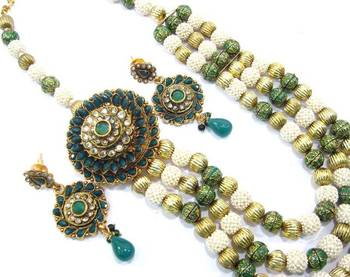 Jaipuri 3 line pearl polki kundan long necklace earring set  pn37