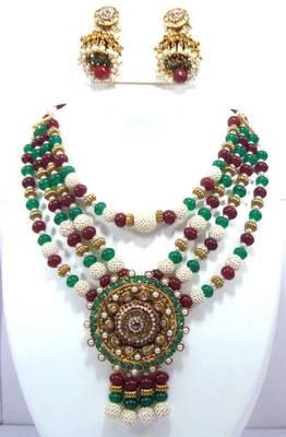 Polki kundan ruby emerald pearl necklace earring set pn29
