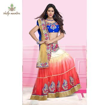Shilpmantra's beautiful peach color net saree