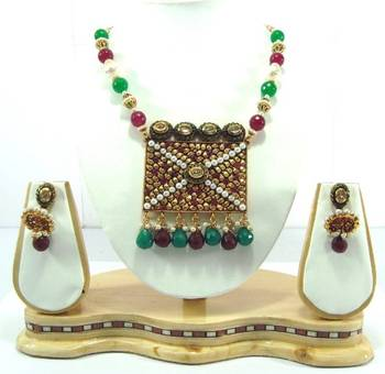 Jaipuri style ruby emerald pearl necklace earning set pn07