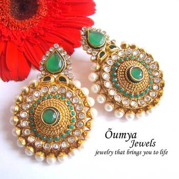Green with pearl earrings
