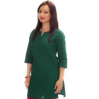 hvm Green Women Pintuck Kurta