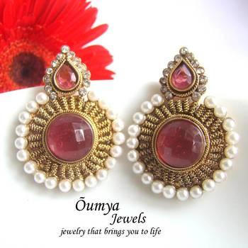 Pink antique earrings
