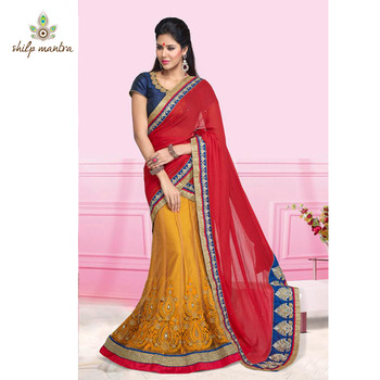 Mustard & Red Color Embroidery & Patch Work Designer Saree