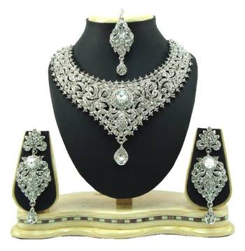silver plated cz bridal choker necklace set o13