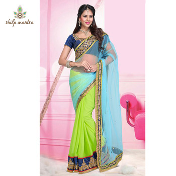 Light Green Color Embroidery & Lace Border Work Designer Saree