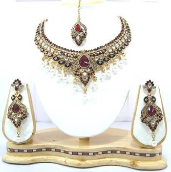 Indian bridal maroon kundan pearl necklace set am18