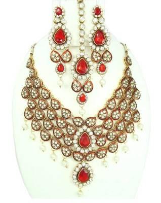 Red kundan cz pearl  v shape bridal necklace set atm10