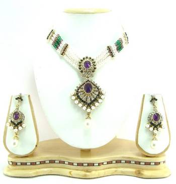 Purple grren cz pearl choker necklace setr3