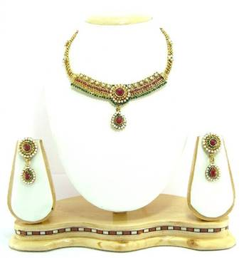 Choker style ruby emerald  pearl bridal necklace set r8