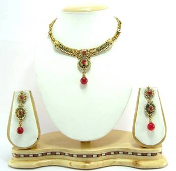 Bridal ruby green pearl gold tone necklace set r9