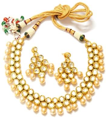 Premium double line kundan necklace set