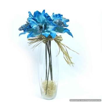 Glitter Velvet Orchids - Blue