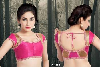 Dupion Silk Ready Made Saree Blouse with two color back - Padded - x 165 - Designer Vama Blouse collection from Muhenera