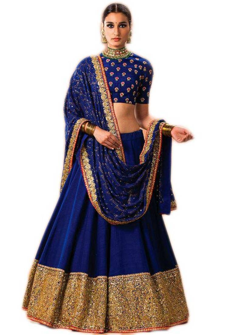 Buy Blue Embroidered Banglori Lehenga With Dupatta Online