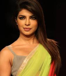 Priyanka bollywood replica green soft net saree