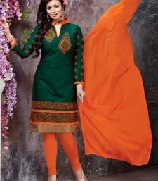 Buy Green embroidered Cotton unstitched salwar with dupatta collar-neck-design online