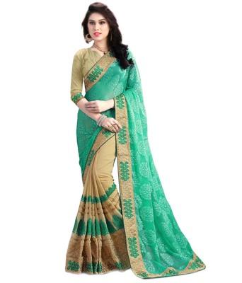 8f272ecf1e16c1 multicolor embroidered faux georgette saree With Blouse - Om Shantam Sarees  - 1457941