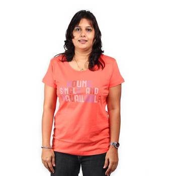 hvm Round Neck T-shirt for Women in Tangerine