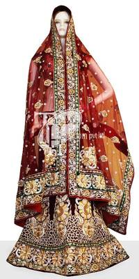 Exclusive red maroon combination heavy work done bridal lehenga