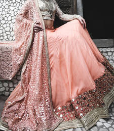 Buy Peach mirror worked georgette unstitched party lahenga with blouse navratri-lehenga-chaniya-choli online