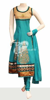 Sky blue cotton full zari work design stylish replica