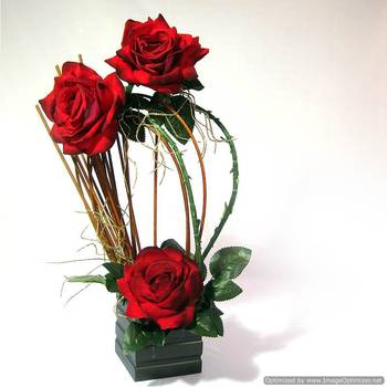 Amazing Artificial Velevet Red Rose Flower Arrangement