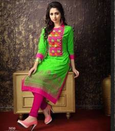 Buy Buy Parrot & Pink Colour cotton embroidered kurta & kurti cotton-kurti online