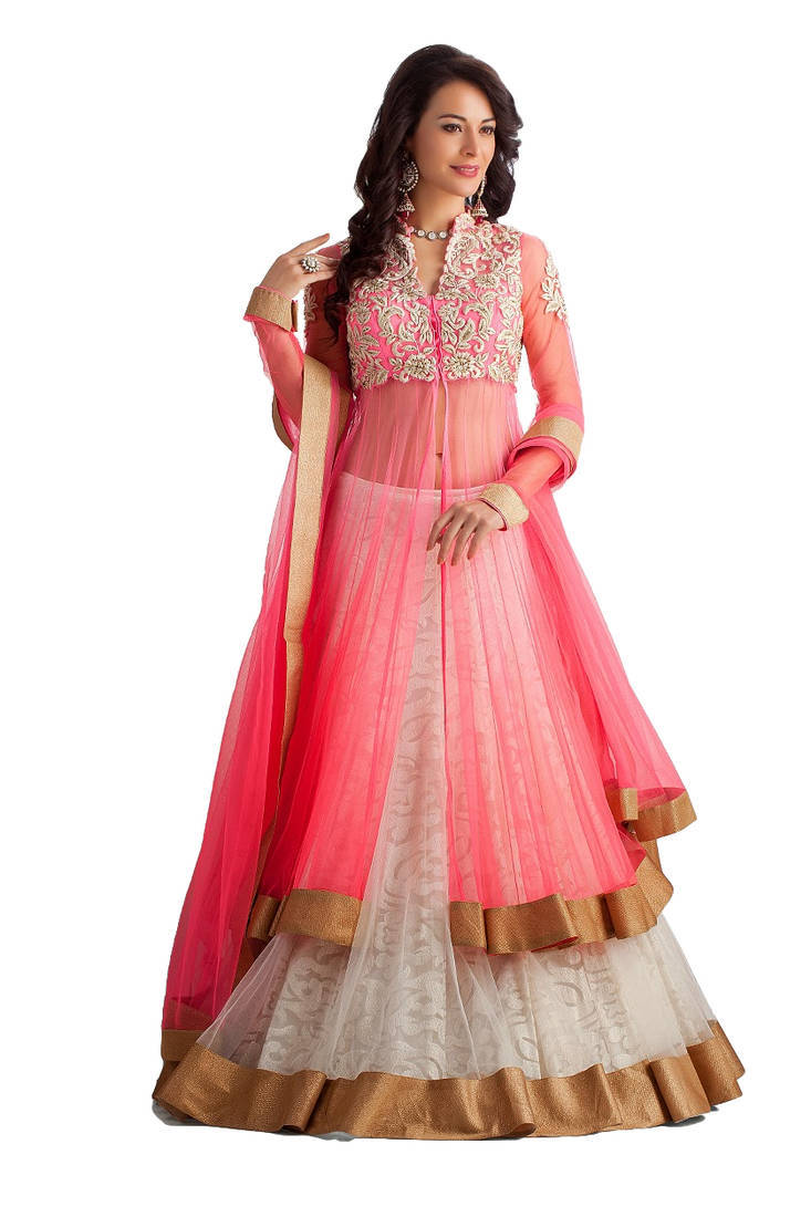 Buy Pink Net Embroidered Semi Stitched Kameez With Pakistani Lehenga Online