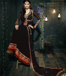 Buy Black embroidered georgette semi stitched salwar with dupatta hot-deal online