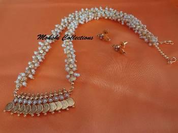 Lovely White Lakshmi Kasu Pendant Set