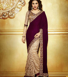 Buy Megenta and cream embroidered georgette saree with blouse half-saree online