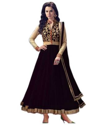 Black net embroidered semistitched salwar with dupatta
