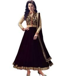 Buy Black net embroidered semistitched salwar with dupatta anarkali-salwar-kameez online